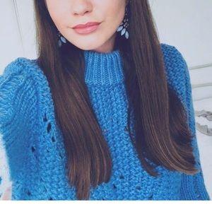 H&M Blue Chunky Knit Wool Sweater